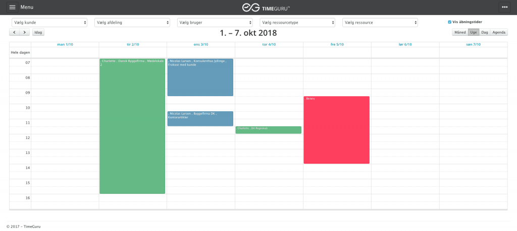 Skærmprint af TimeGuru's ressourcekalender. dette vises i forbindelse med en kort gennemgang af planlægningsmodulet i TimeGuru