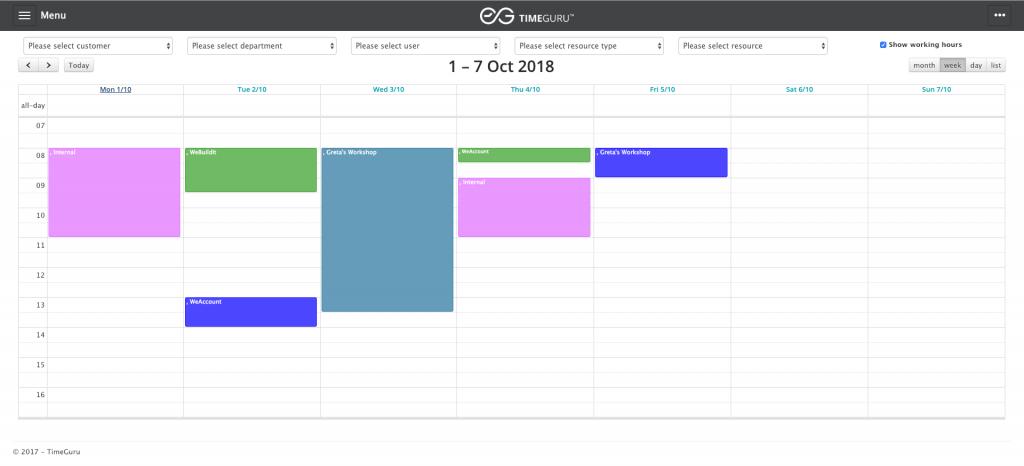 Screenshot of TimeGuru resource calendar, used for time and resource management.