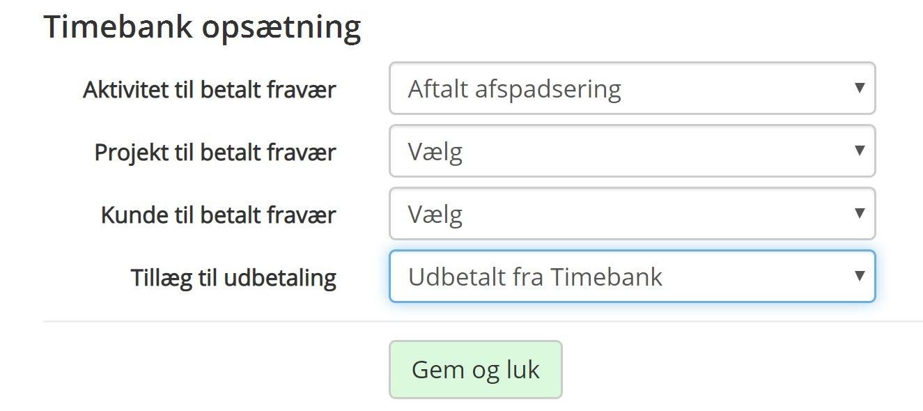 Timebank indstillinger