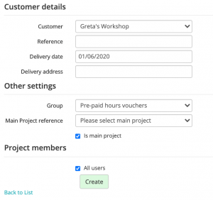 Shows how to fill out customer details for a pre-paid hour voucher